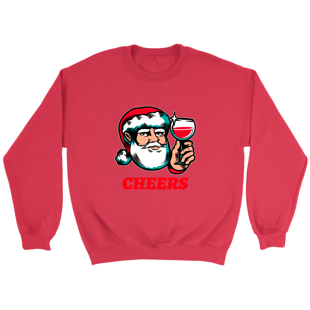 Cheers Santa Christmas Tops - Crewneck Sweatshirt / Red / S - Crewneck Sweatshirt / Red / M - Crewneck Sweatshirt / Red / L - Crewneck Sweatshirt / Red / XL - Crewneck Sweatshirt / Red / 2XL - Crewneck Sweatshirt / Red / 3XL - Crewneck Sweatshirt / Red / 4XL - Crewneck Sweatshirt / Red / 5XL