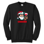 Cheers Santa Christmas Tops - Youth Crewneck Sweatshirt / Black / XS - Youth Crewneck Sweatshirt / Black / S - Youth Crewneck Sweatshirt / Black / M - Youth Crewneck Sweatshirt / Black / L - Youth Crewneck Sweatshirt / Black / XL