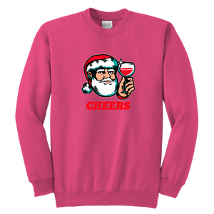 Cheers Santa Christmas Tops - Youth Crewneck Sweatshirt / Neon Pink / XS - Youth Crewneck Sweatshirt / Neon Pink / S - Youth Crewneck Sweatshirt / Neon Pink / M - Youth Crewneck Sweatshirt / Neon Pink / L - Youth Crewneck Sweatshirt / Neon Pink / XL