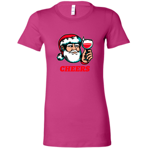 Cheers Santa Christmas Tops - Bella Womens Shirt / Berry / S - Bella Womens Shirt / Berry / M - Bella Womens Shirt / Berry / L - Bella Womens Shirt / Berry / XL - Bella Womens Shirt / Berry / 2XL
