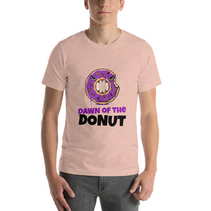 Dawn of the donut Halloween T shirt - Heather Prism Peach / XS - Heather Prism Peach / S - Heather Prism Peach / M - Heather Prism Peach / L - Heather Prism Peach / XL - Heather Prism Peach / 2XL - Heather Prism Peach / 3XL - Heather Prism Peach / 4XL
