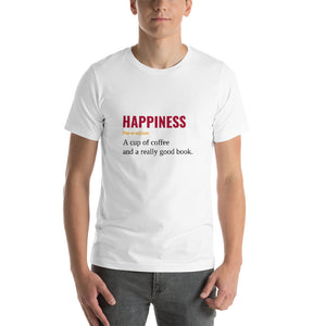 Happiness is a  coffee and a really good book T shirt - XS - S - M - L - XL - 2XL - 3XL - 4XL