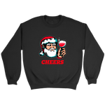 Cheers Santa Christmas Tops - Crewneck Sweatshirt / Black / S - Crewneck Sweatshirt / Black / M - Crewneck Sweatshirt / Black / L - Crewneck Sweatshirt / Black / XL - Crewneck Sweatshirt / Black / 2XL - Crewneck Sweatshirt / Black / 3XL - Crewneck Sweatshirt / Black / 4XL - Crewneck Sweatshirt / Black / 5XL
