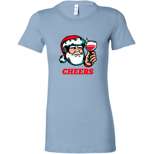 Cheers Santa Christmas Tops - Bella Womens Shirt / Baby Blue / S - Bella Womens Shirt / Baby Blue / M - Bella Womens Shirt / Baby Blue / L - Bella Womens Shirt / Baby Blue / XL - Bella Womens Shirt / Baby Blue / 2XL