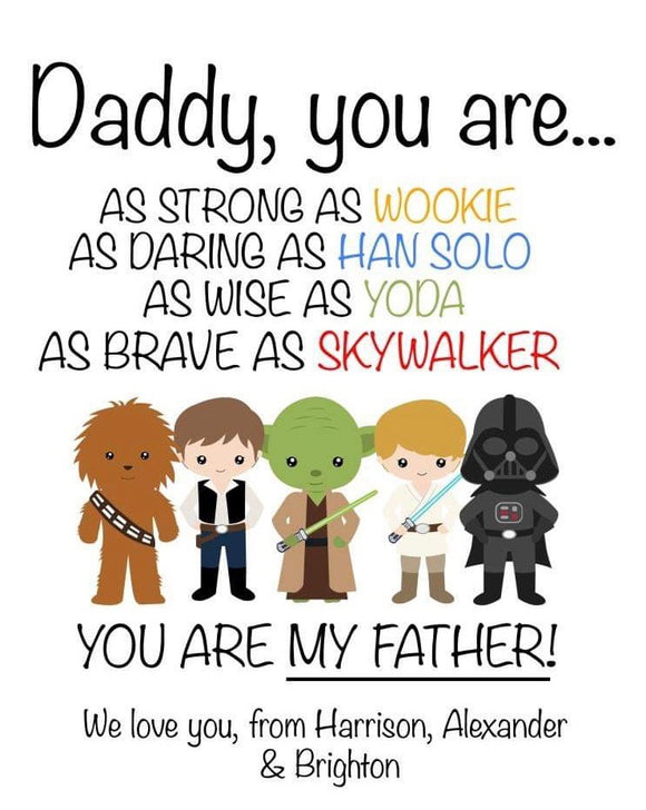 Personalised Star Wars Father's Day Print