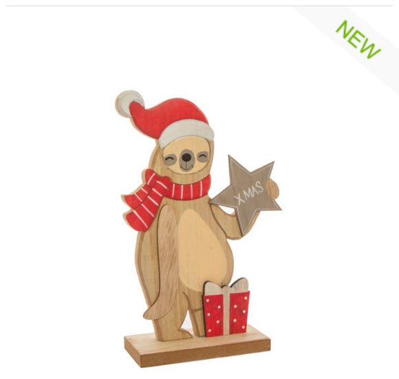Wooden Sloth Christmas decoration