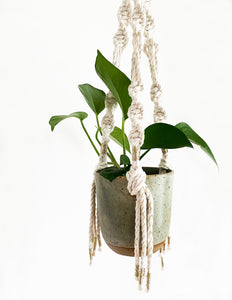 Green Hanging Planter with Luxe Gold Macramé