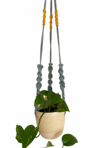 Sandstone Hanging Planter with Laurel Macramé