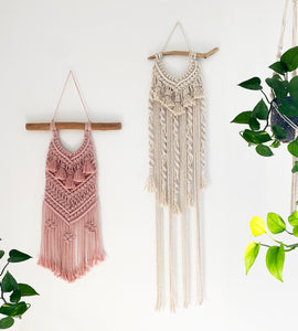 Natural Macrame Wall Hanging with Driftwood