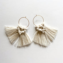 Load image into Gallery viewer, Mini Hoop Earrings with Macrame tassels