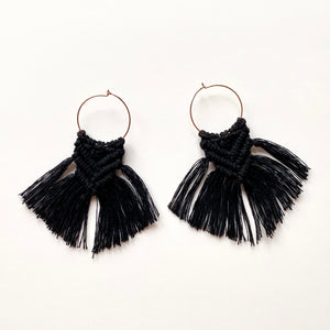Mini Hoop Earrings with Macrame tassels