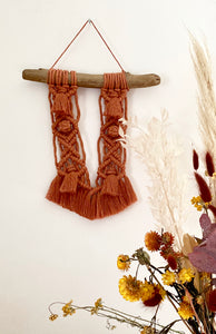 Terracotta Macrame Wall Hanging with Driftwood