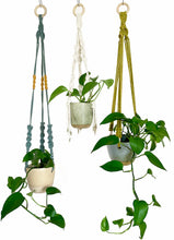 Load image into Gallery viewer, Blue Hanging Planter with Kiwi Macramé