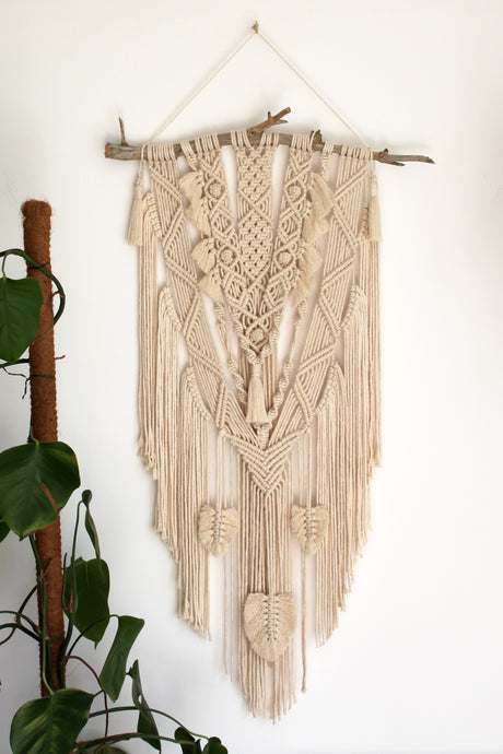 Natural Wall Hanging with Feathers - X Large - MADE TO ORDER