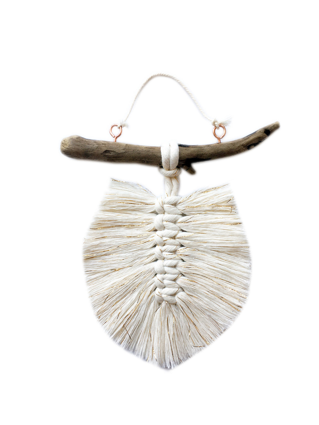White Lurex Feather Mini Hanging