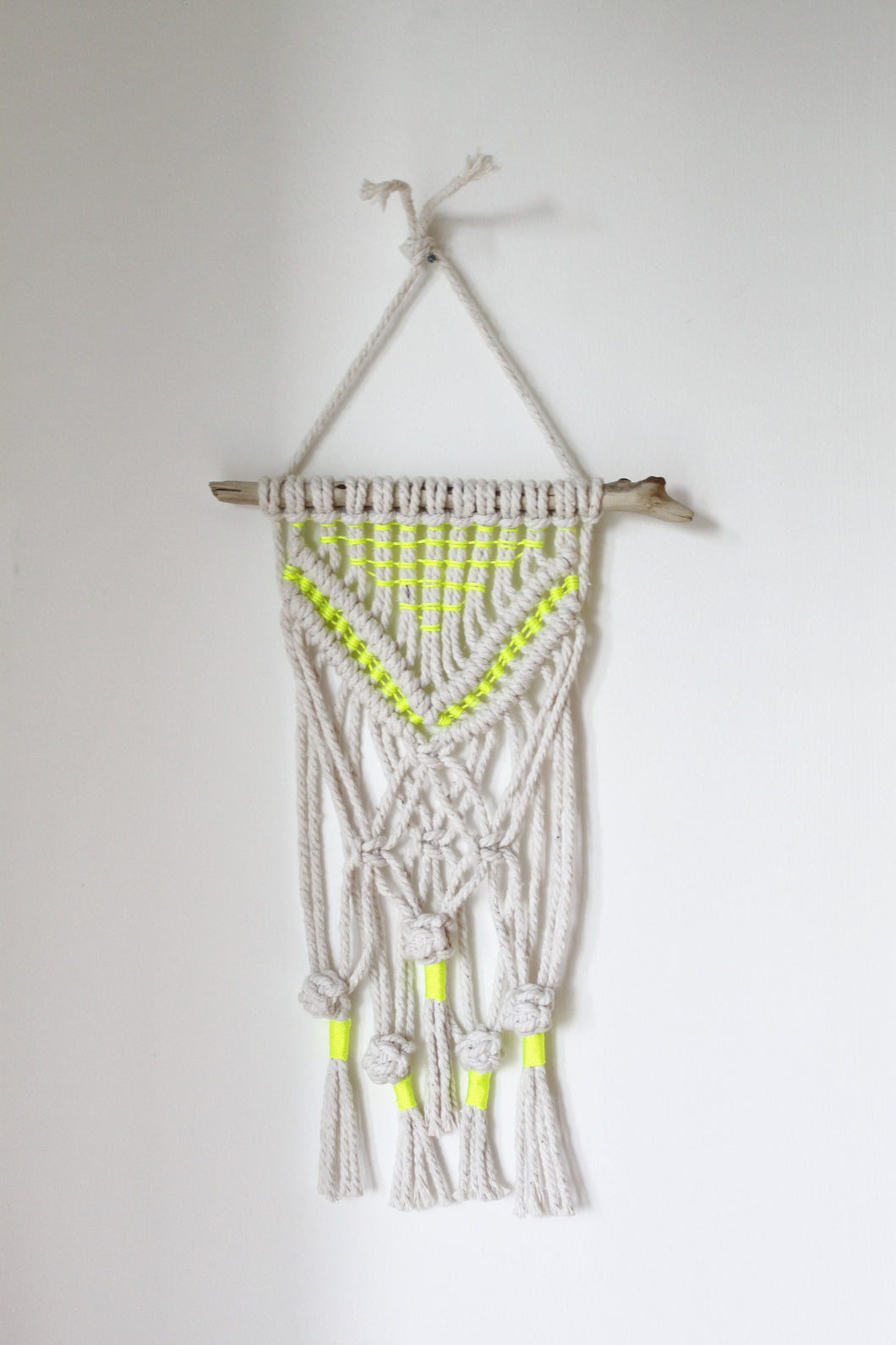 Natural Wall Hanging with Neon Accent - Small