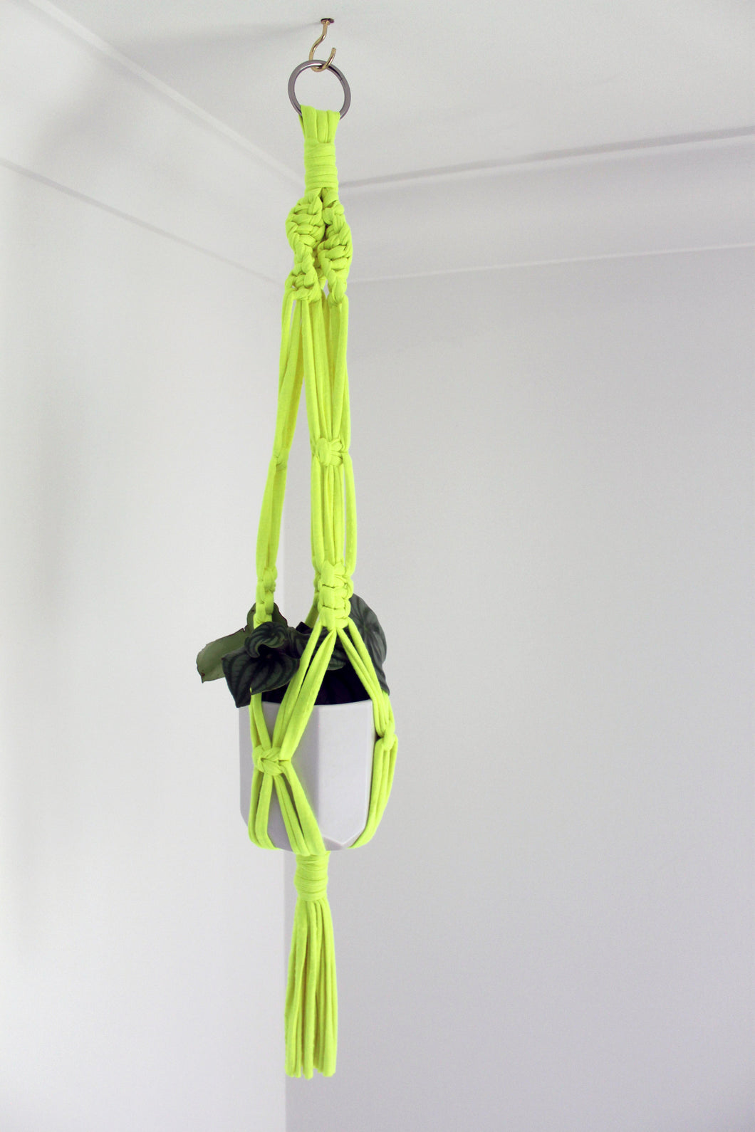 Neon Yellow Jersey Plant Hanger