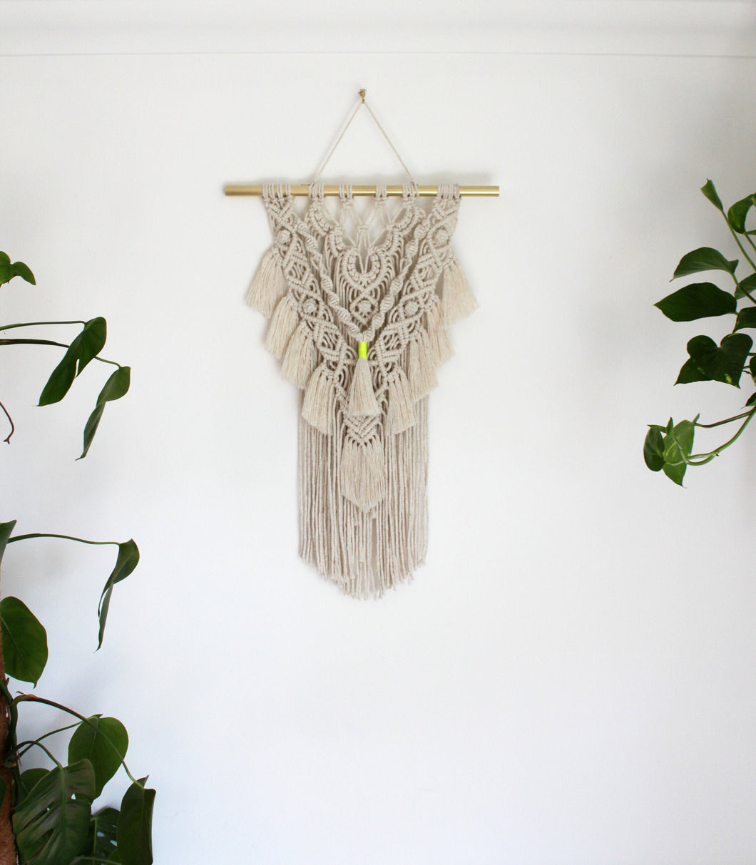 Natural Modern Wall Hanging with Neon Accent - Large