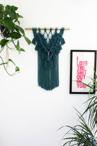 Teal Modern Wall Hanging with Neon Accent - Large