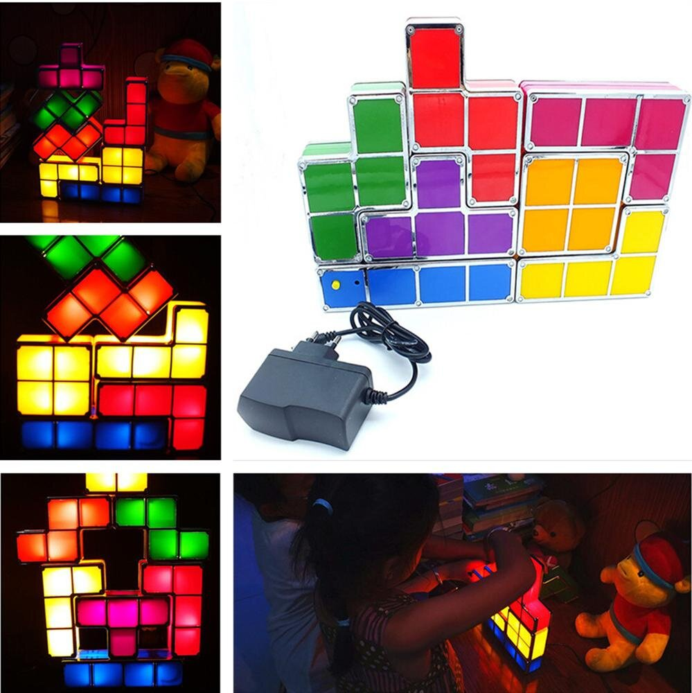 Creative LED Tetris Stackable Desk Lamp/Night Light