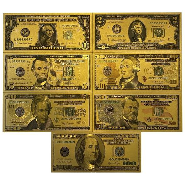 24K Gold Foil USA Money (7 pcs)