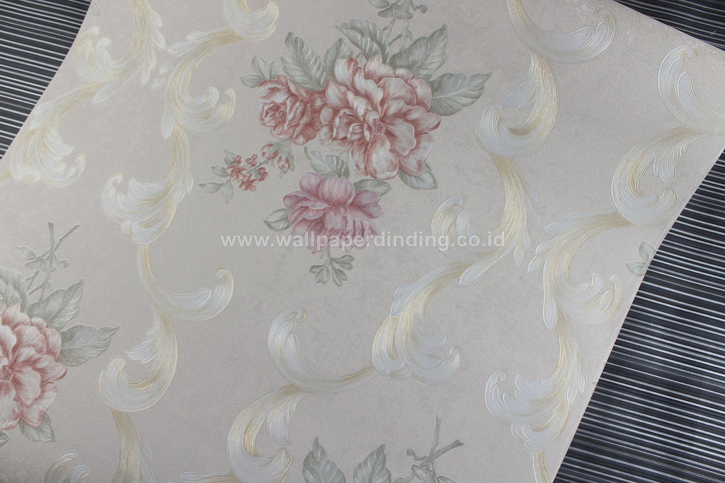 Wallpaper Dinding Batik Bunga Cream RO133 - Java Wallpaper