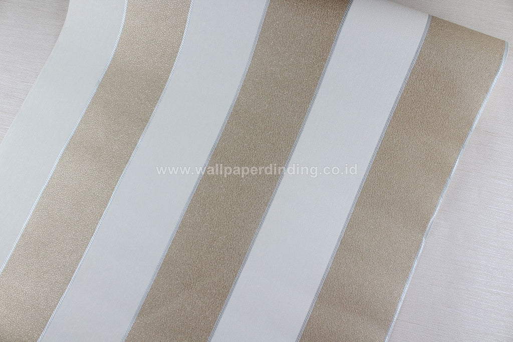 Wallpaper Dinding Garis Putih Coklat Gold NS D1818-7 - Java Wallpaper