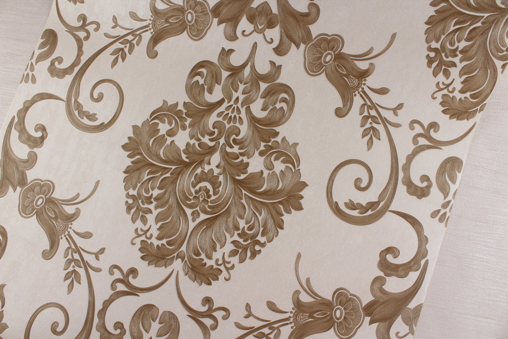 Wallpaper Dinding Batik Cream Coklat RO103 - Java Wallpaper