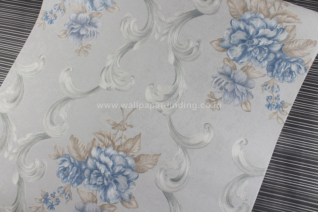 Wallpaper Dinding Batik Bunga Biru RO136 - Java Wallpaper