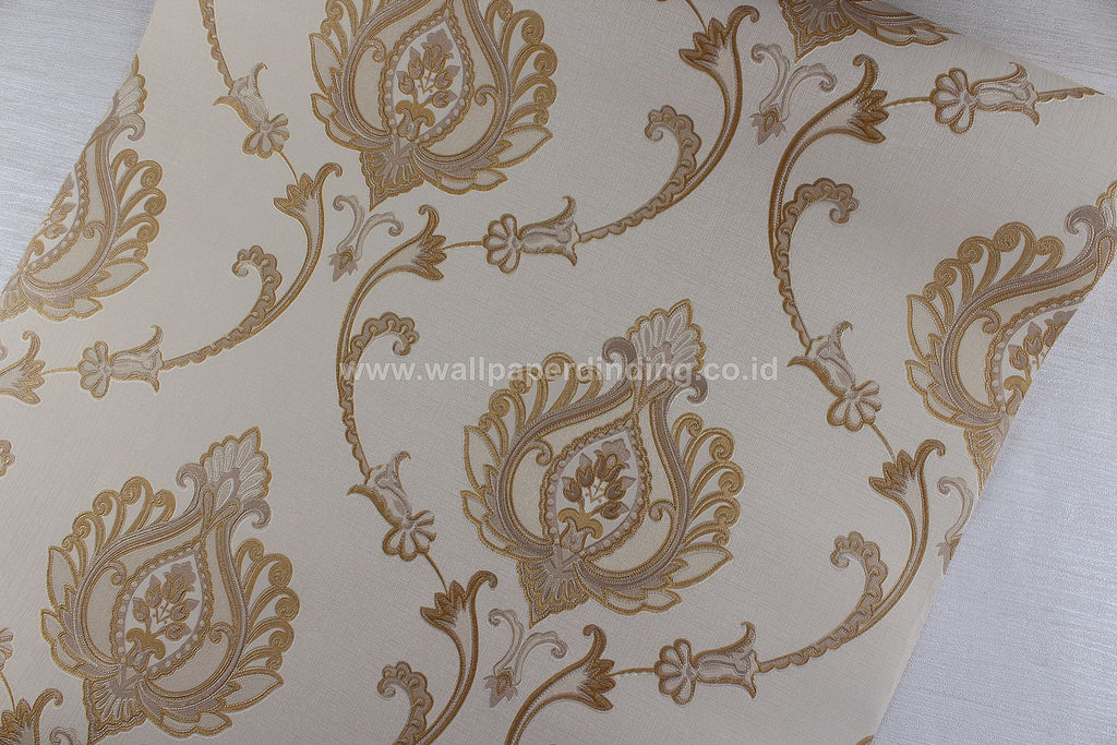 Wallpaper Dinding Batik Coklat Gold RO126 - Java Wallpaper