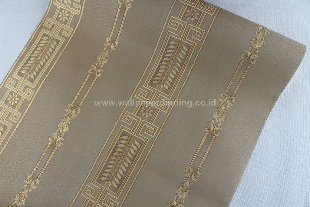 Wallpaper Dinding Batik Garis Coklat Gold RO-SO105 - Java Wallpaper