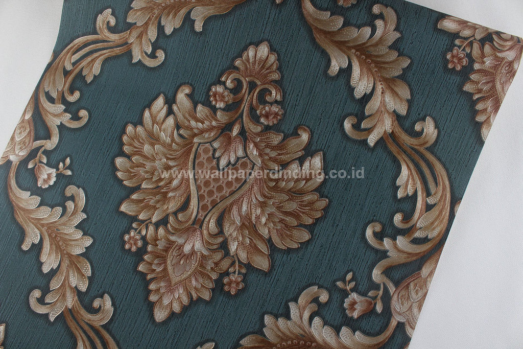 Wallpaper Dinding Batik Hijau Coklat RO SO138 - Java Wallpaper