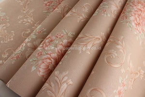 Wallpaper Dinding Bunga Coklat Orange SO113 - Java Wallpaper