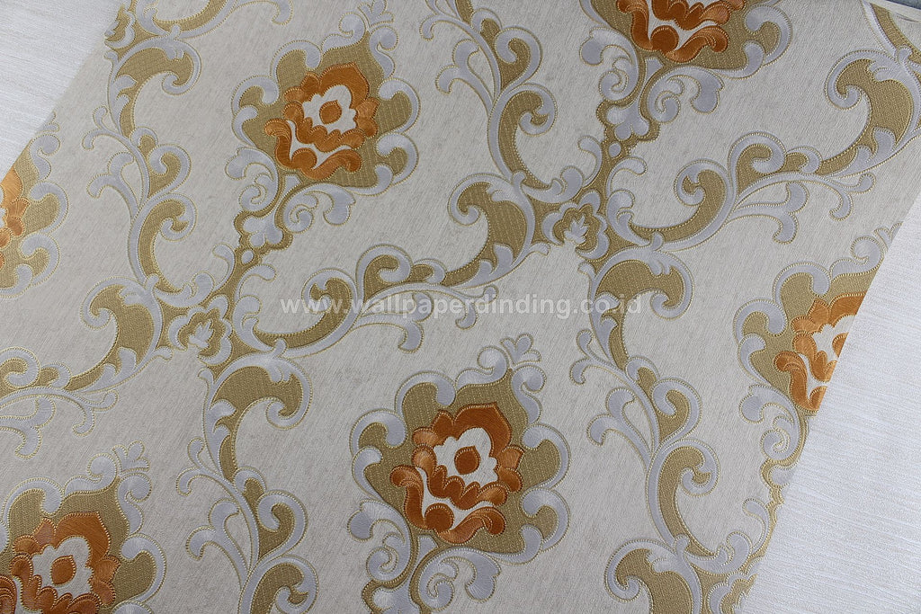 Wallpaper Dinding Batik Kuning Orange RO176 - Java Wallpaper