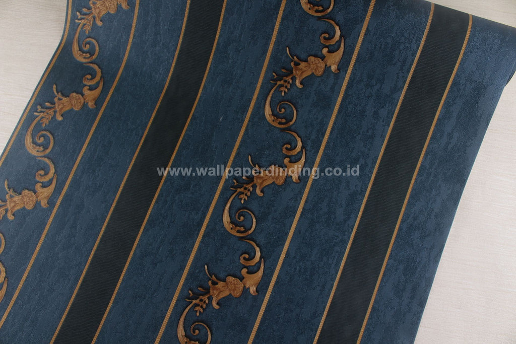 Wallpaper Dinding Batik Garis Biru Dongker RO102 - Java Wallpaper