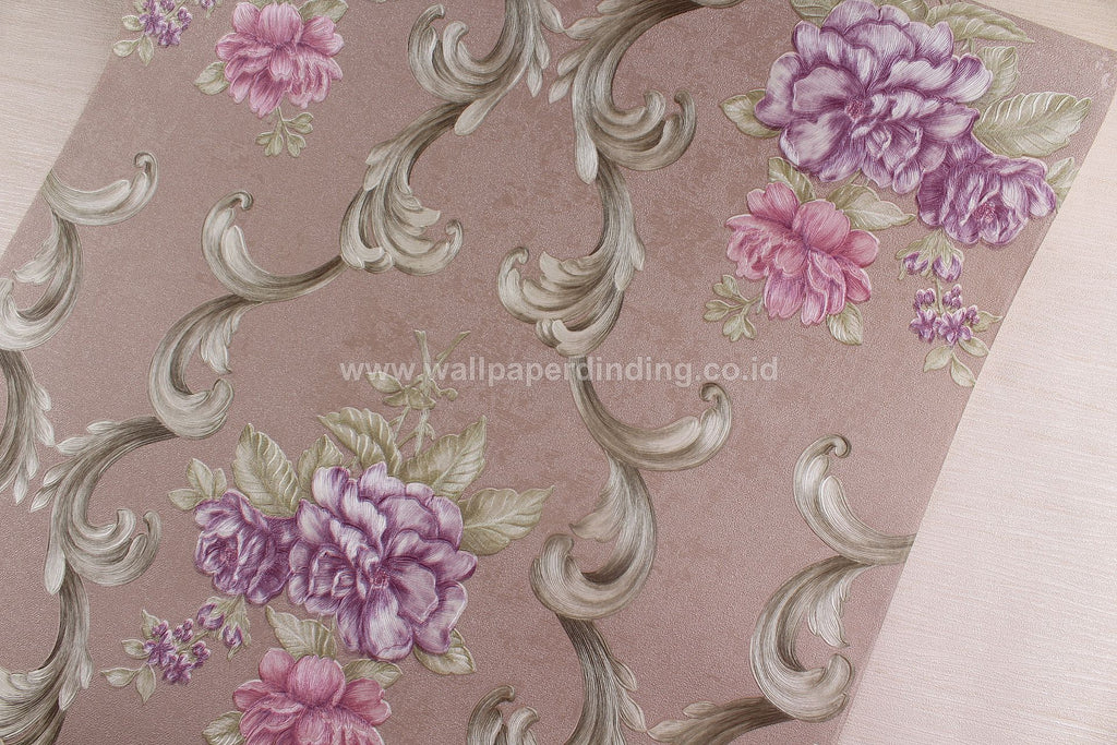 Wallpaper Dinding Bunga Batik Coklat Ungu RO135 - Java Wallpaper