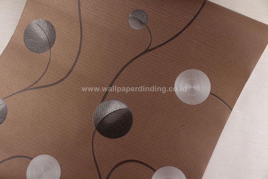 Wallpaper Dinding Sulur Bulat Minimalis Coklat NS D1814-6 - Java Wallpaper