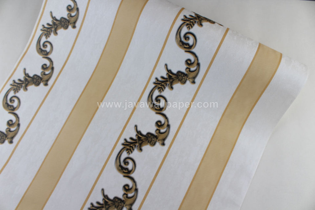 Wallpaper Dinding Batik Garis Gold Hitam RO106 - Java Wallpaper
