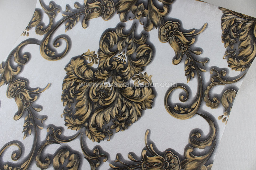 Wallpaper Dinding Batik Gold Hitam RO105 - Java Wallpaper