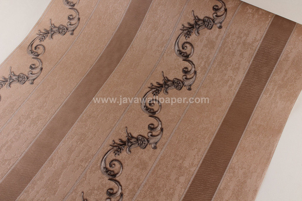 Wallpaper Dinding Batik Garis Coklat RO108 - Java Wallpaper
