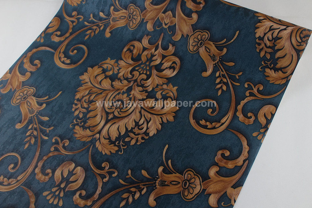 Wallpaper Dinding Batik Biru Dongker RO101 - Java Wallpaper