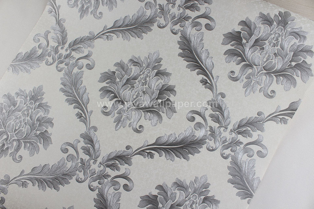 Wallpaper Dinding Batik Putih Silver NS D1810-5 - Java Wallpaper