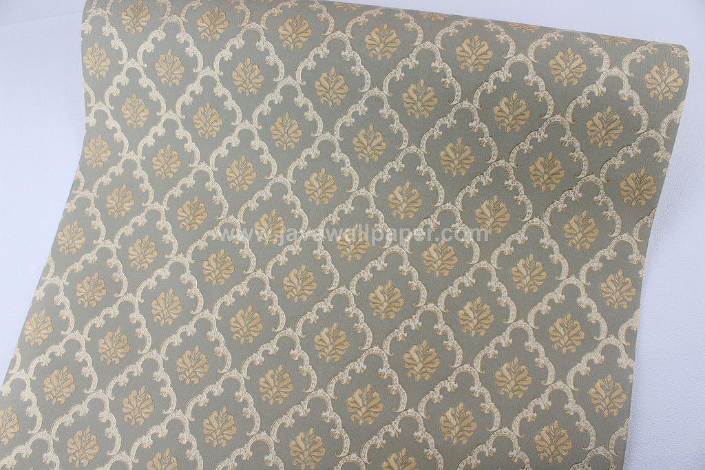Wallpaper Dinding Batik Hijau Gold D1808-5 - Java Wallpaper