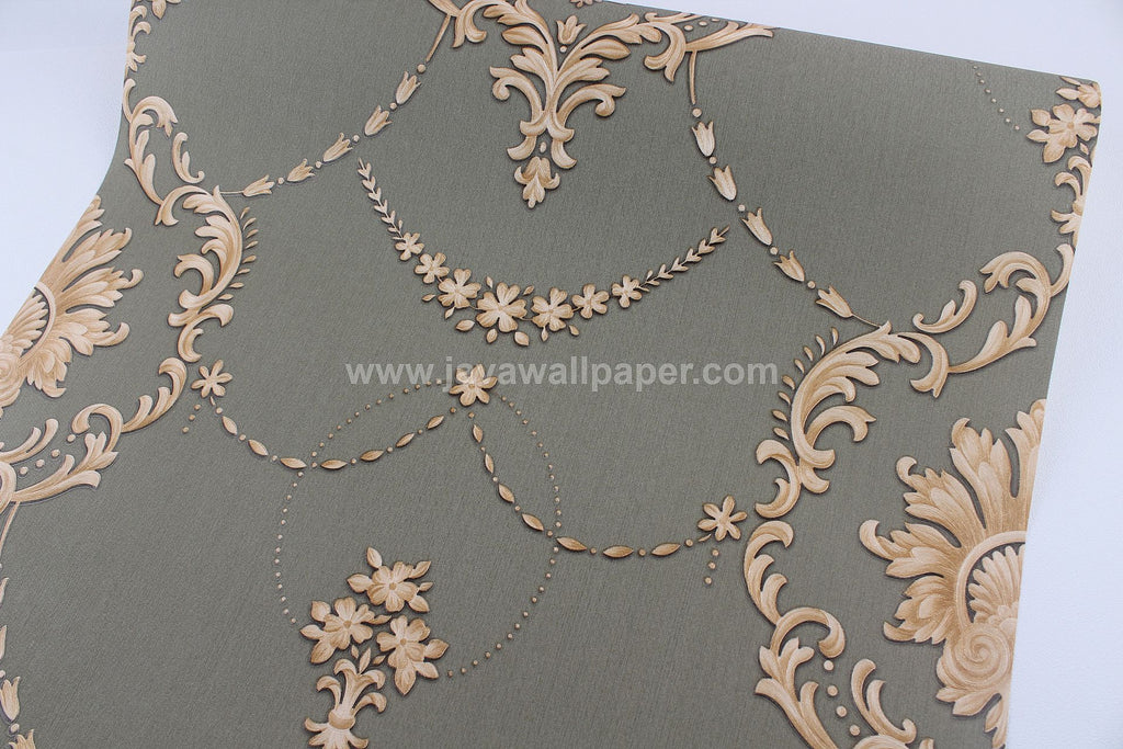 Wallpaper Dinding Batik Hijau Gold D3815-3 - Java Wallpaper