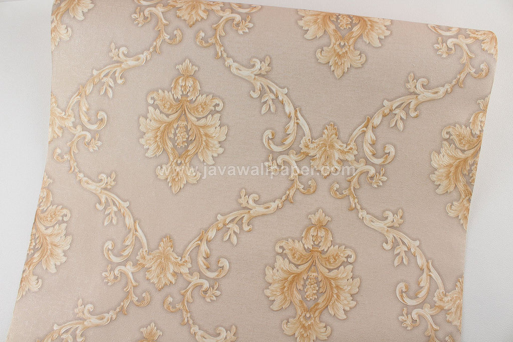 Wallpaper Dinding Batik Coklat Gold D1816-3 - Java Wallpaper