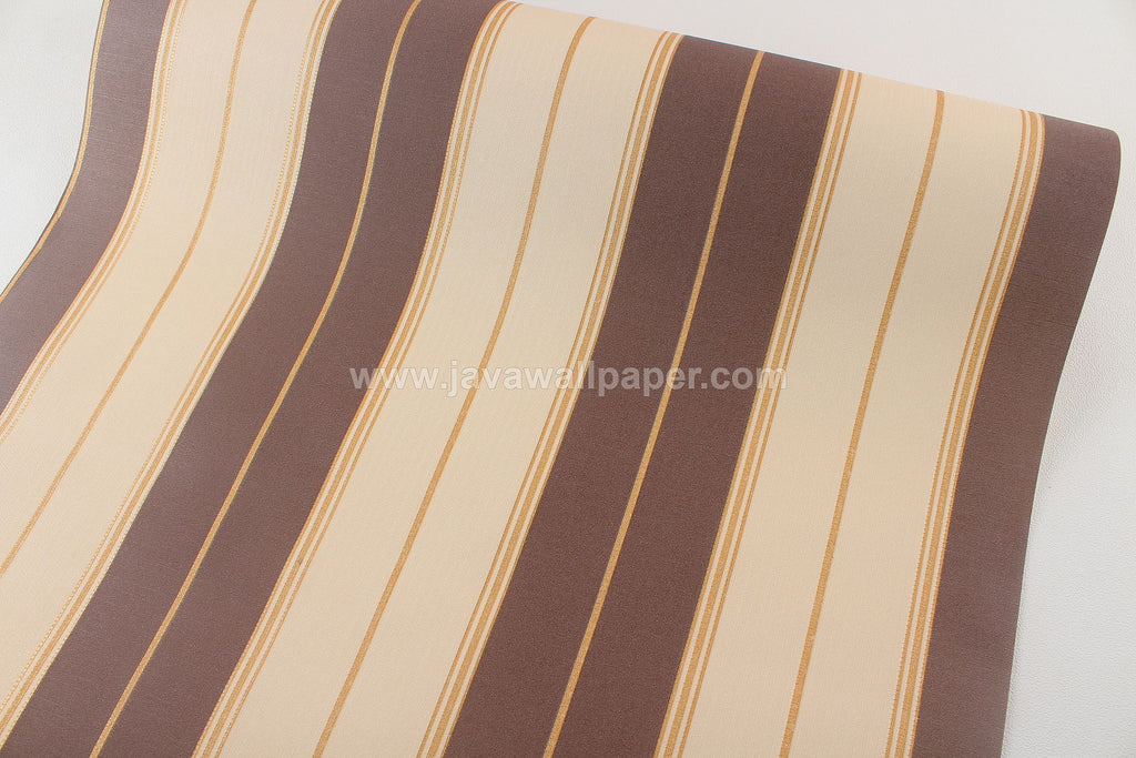 Wallpaper Dinding Garis Coklat Gold D2816-5 - Java Wallpaper