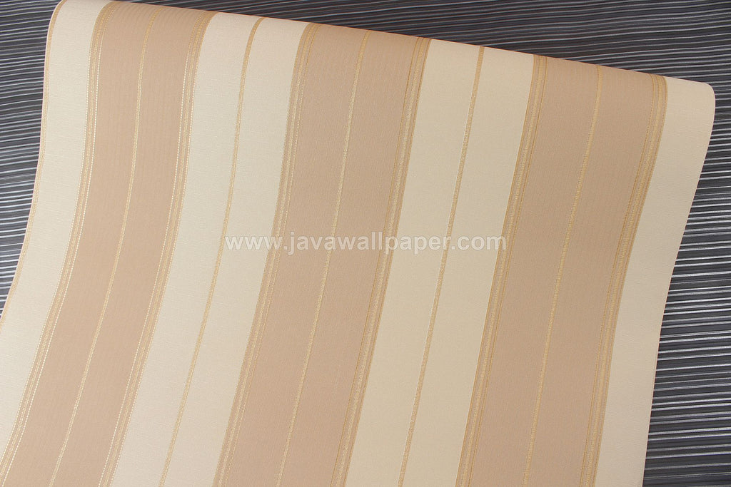 Wallpaper Dinding Garis Cream Gold Coklat D2816-3 - Java Wallpaper