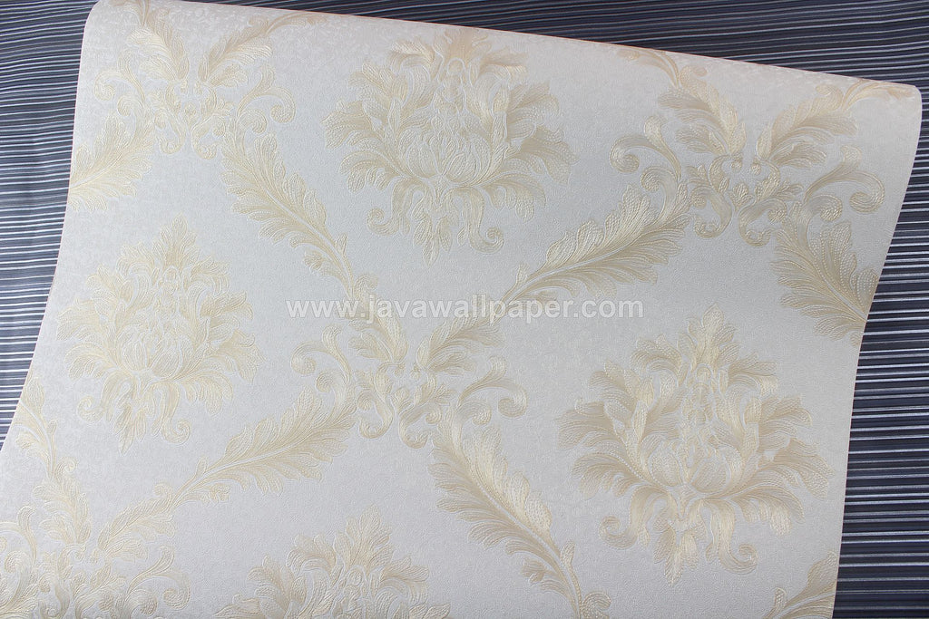 Wallpaper Dinding Batik Gold Cream D1810-3 - Java Wallpaper