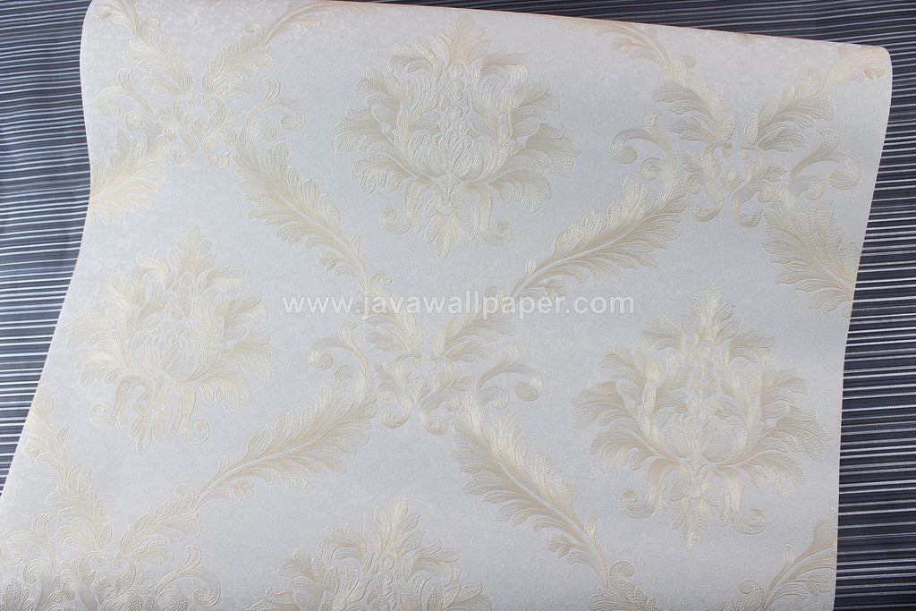 Wallpaper Dinding Batik Putih Tulang Gold D1810-1 - Java Wallpaper