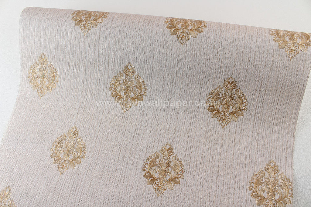 Wallpaper Dinding Batik Coklat Gold CL D1802-6 - Java Wallpaper